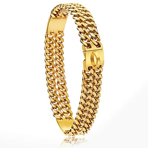 18K Gold Plated Charm 24mm Wide Heavy Duty Strong Cuban Chain Link Dog Collar with Steel Buckle, Strong Stainless Steel Metal Dog Training Collar Necklace for Large Medium Small Dogs