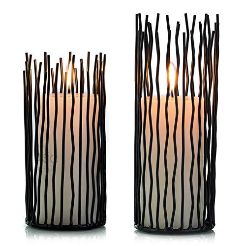 Nuptio Set mit 2 Metallsäulen-Kerzenhalter, Led Flammenloser Elektronischer Schwarzer Tisch Kerzenhalter, Metallkerzenhalter-Mittelstücke Tisch Nach Hause Hochzeit Weihnachten Kaminsims Dekorationen
