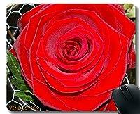 YENDOSTEENカスタムオリジナルマウスパッド、ブルーローズデジタル絵画花ノンスリップゴムベースマウスパッド