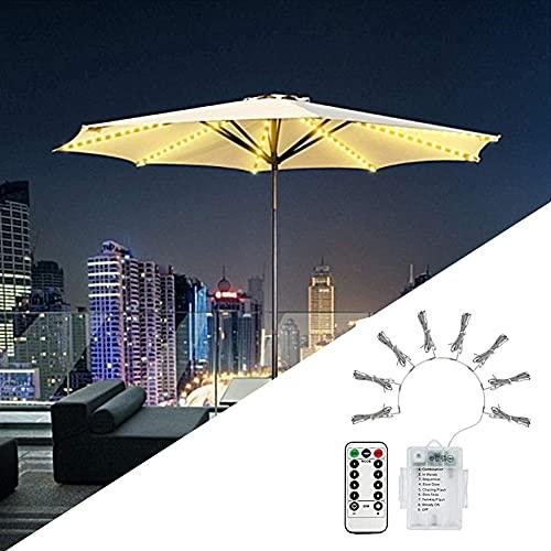XCUGK Luces de Cadena de Sombrilla de Patio Cadena de Luces para sombrilla de Color Blanco cálido 104 Luces LED con Control Remoto 8 Modos para Patio Exterior e Interior