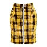 Falda Para Mujer,Amarillo Estampado A Cuadros De Cintura Alt