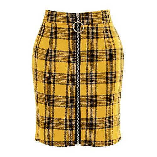 Falda Para Mujer,Amarillo Estampado A Cuadros De Cintura Alta Con Cremallera Falda Corta De Tubo Moda Sexy Primavera Otoño Versátil Falda Retro Elástica Para Mujeres Fiesta De Niñas Oficina De M
