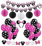 Kreatwow Decoración de la Fiesta de cumpleaños de Minnie Mouse Girls, Diadema...
