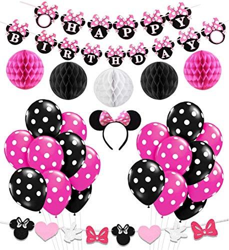 Kreatwow Decoración de la Fiesta de cumpleaños de Minnie Mouse Girls, Diadema de Minnie Mouse, Banner de cumpleaños Feliz, Globos Rojos de la Rosa Negro