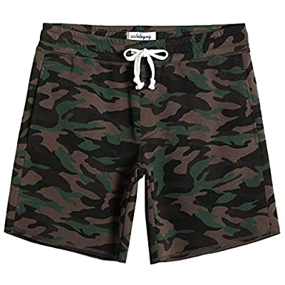 "CALOLEYNG Mens Cotton 8"" Long Casual Lounge Fleece Camo Shorts Zip Pockets Jogger Athletic Workout Gym Sweat Shorts"