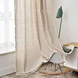 """SIZE & HEADER TYPE - 2 panels per package, each stripe tassel window curtain measures 52""""wide x 63""""length (132 x 160 cm). 3"""" Rod-pocket curtains have a sewn-in pocket that slides easily onto your curtain rod for quick installation LUXURY CURTAINS MAD..."""