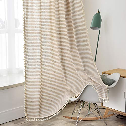 """ColorBird Striped Semi-Blackout Window Curtains 2 Panels Farmhouse Style Cotton Linen Darkening Curtains with Tassel Rod Pocket Window Drapes for Dining Living Bedroom (52"""" W x 84"""" L, 1 Pair, Beige)"""