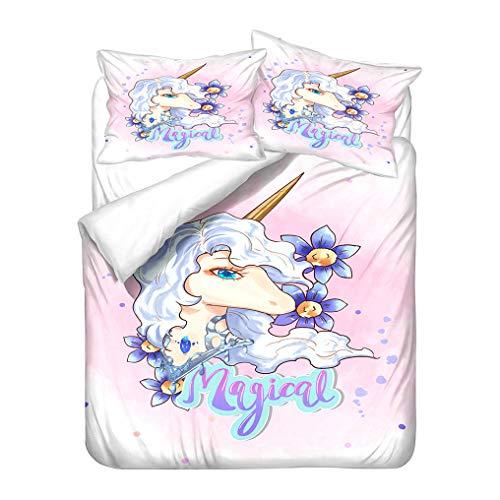 Cartoon Arcobaleno Unicorno Modello 3D Stampa Set di biancheria da letto per Bambini Ragazzi Ragazze Copripiumino e Federa Morbido Anti Rughe (Unicorn 4, 260x240 cm)