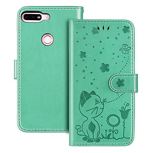 The Grafu Hülle für Huawei Nova 2 Lite, PU Leder Stoßfest Klapphülle Handyhülle für Huawei Nova 2 Lite, Brieftasche Schutzhülle mit Kartenfach, Grün