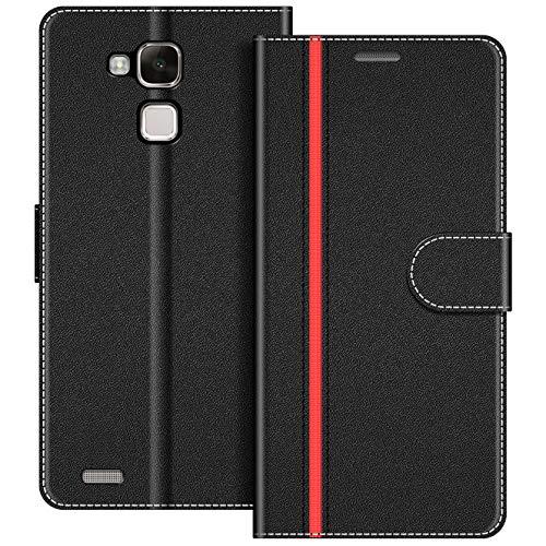 COODIO Handyhülle für Huawei Mate 7 Handy Hülle, Huawei Mate7 Hülle Leder Handytasche für Huawei Mate 7 Klapphülle Tasche, Schwarz/Rot