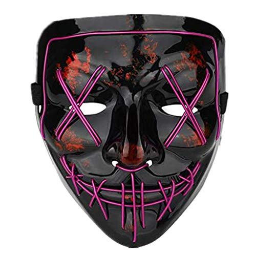 Halloween Scary Mask,LED Light Up Purge Mask,Co-splay Costume Mask for Festival Purple