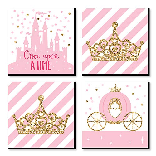 Big Dot of Happiness Little Princess Crown - Kids Room, Nursery Decor and Home Decor - 11 x 11 inches Nursery Wall Art - Set of 4 Prints for Babys Room
