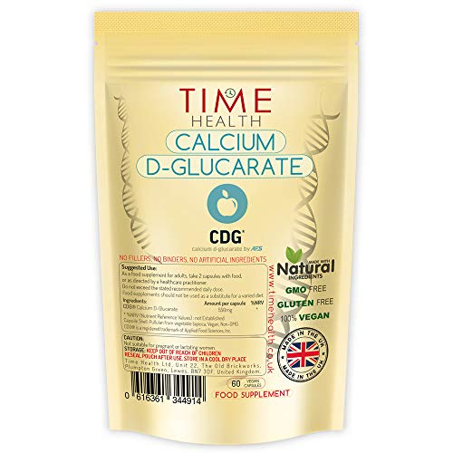 Calcium D-Glucarate – Premium Brand CDG – 550mg per Capsule – Vegan – No Fillers, Binders or Flow Agents (60 Capsule Pouch)