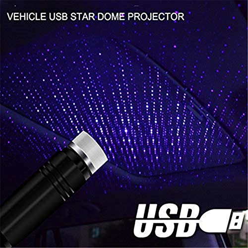 LED Car Roof Star Night Light, Plug and Play Car and Home Ceiling Romantic USB Night Light, USB Car Atmosphere Lámpara RGB Luz de proyección Starlight para Car Home Party (Blu-ray)