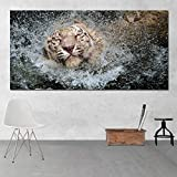 Canvas Art Print Tiger Wall Picture for Living Room Modern Animal Painting Wall Art Print (no Frame) A2 50x100CM
