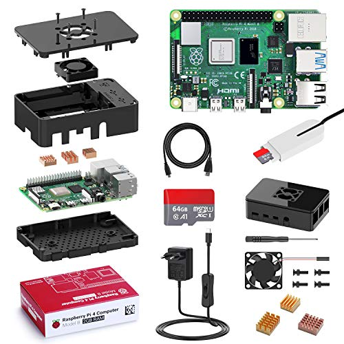Bqeel Raspberry Pi 4 Model B 2 GB Ultimatives Kit mit Quad-Core ARM-Cortex-A72/ 64GB Class10 Micro SD-Karte/unterstützt BT5.0/Gigabit-Ethernet/Dual Display 4K 60Hz /Upgraded für Raspberry Pi 3