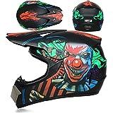 Casco da Motocross Adulto Completo MX Moto ATV MTB Casco Dockill Casco, Bambini Drirt Bike Quad Bike Go Karting Helmet D.O.T Certificato, con Guanti/Occhiali/Maschera (Clown Nero, S),M