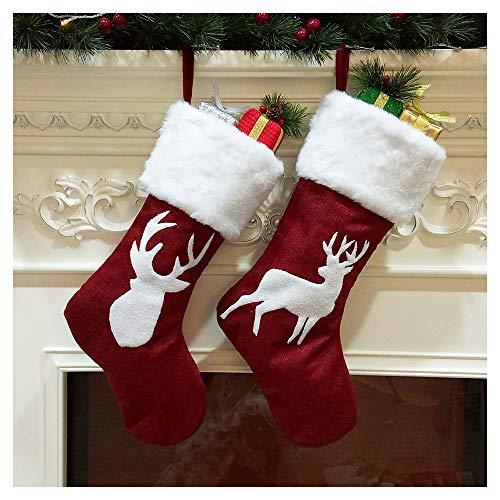 Calze di Natale da appendere, 45,7 cm, motivo: Alce ricamato