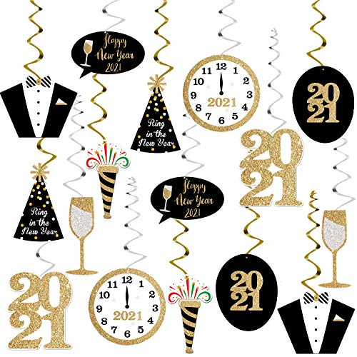 Happy New Years Eve Hanging Swirl 2021 – Pack of 30 | New Years Eve Party Supplies 2021 | Black, Gold New Year Decorations Hanging | Happy New Year Decorations 2021 | Hollywood Oscar NYE Decorations