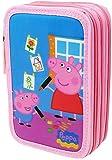 Estuche Peppa Pig Con Tres Compartimentos. Color Rosa.44 Piezas