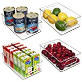 Vtopmart Stackable Clear Plastic Storage Bins, 4 Pack Food Organizer Bins with Handles for Refrigerator, Fridge, Freezer, Cabinet, Kitchen, Pantry Organization, BPA Free, 10' Long