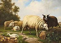 26 世界の名画 - ¥4K-150k 手書き-キャンバスの油絵 - アカデミックな画家直筆 - Eugene Verboeckhoven Schafe und Enten sheep - 絵画 洋画 複製画 -サイズ06