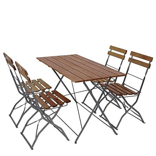 Mendler Salon de Jardin/Brasserie 1 Table 4 chaises Berlin, Pliable, Bois huilé, 120x60x70cm ~ Nature