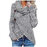 Shopler Suéter de manga larga con cuello de tortuga y cable grueso para mujer, gris, XL