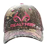 Realtree Edge Pink Logo Camo Cap Hat for Women, Structured, Precurved Visor, Q-3 Wicking Sweatband Ladies Fit OSFM S-L