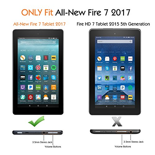 TiMOVO Case Fits Fire 7 (7th Generation, 2017 Release) - Smart Slim Folding Stand Cover Case with Auto Wake/Sleep Function for Amazon Fire 7 Inch Tablet, Will Not Fit Fire 7 2019 (9th Gen) - Black