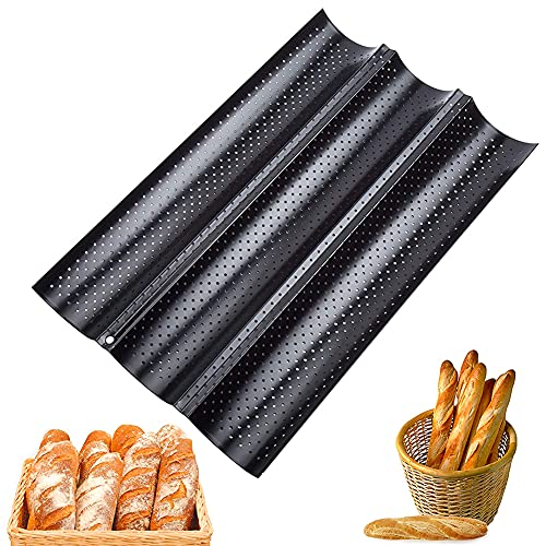 Delicacy Baguettes Molde, Bandeja Perforada Antiadherentes para Baguette para Colocar y Hornear 3 Baguettes Francesas