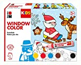 Marabu 0306000000003 - Kids Window Color Christmas 6 x 25 ml, Farbe auf Wasserbasis, ablösbar auf glatten Flächen wie Glas, Spiegel, Fliesen und Folie, 6 x 25 ml Farbe, Malvorlage A3 mit 35 Motiven