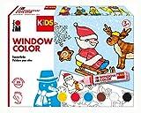 Marabu Kids - Pintura para Ventanas (6 x 25 ml), diseño navideño, carbón, 306000000003