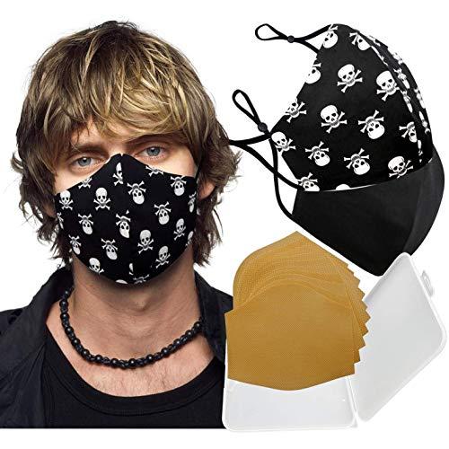 Cussi - Wiederverwendbare Hygienische Stoffmaske, zertifiziert UNE 0065:20 und BFE zertifiziert 99 %, waschbar bis zu 20 Zyklen – Packung mit 2 Masken, Etui, extra Filter (Calavera, schwarz)