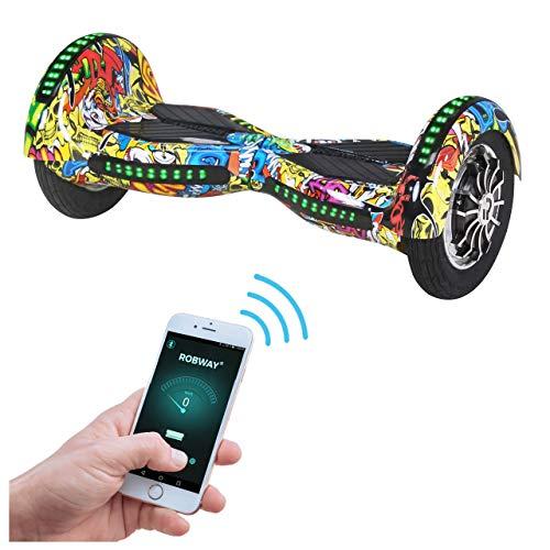 Robway W3 Hoverboard - Das Original - Samsung Marken Akku - Self Balance - 22 Farben - Bluetooth - 2 x 400 Watt Motor - 10 Zoll Luftreifen (Graffiti Blau)