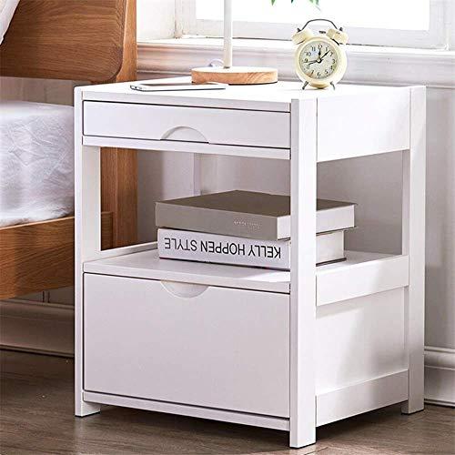 Kutera nachtkastje mini hout nachtkastje met lades nachtkastje meubilair & accent einde tafel kist gemakkelijk trekken stof Bins organisator eenheid voor slaapkamer meubels 45cmX38cmX55cm Kleur: wit