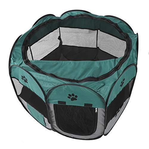 01 Parque para Mascotas Duradero, Jaula para Mascotas, Sala de partos Plegable portátil para Mascotas, Tienda de Juegos para(S, XBD82 Green Gray no Kettle Toy)