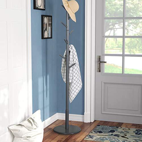 Vlush Garderobenständer Freistehend Baum Kleiderständer mit Runder Basis für Kleidung, Schals, Handtaschen, Regenschirm, 8 Haken (Grau)