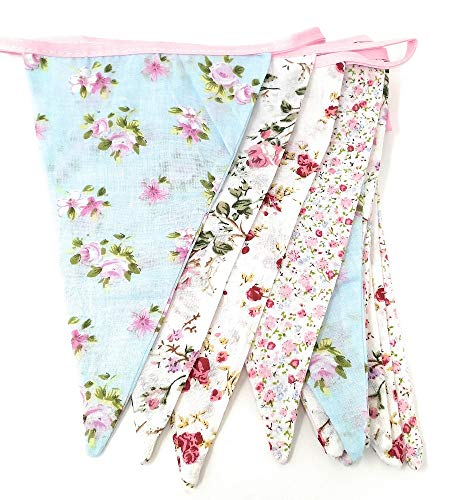 Floral Fabric Bunting Shabby Chic English Country Garden Vintage Style