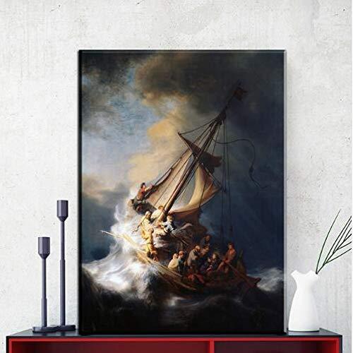 Lona de Barco Rembrandt_1000pcs_Wooden Puzzle_Juegos de Rompecabezas para niños Juguetes Divertidos Regalos de Personalidad Juegos de Rompecabezas Familiares y Familiares_50x75cm