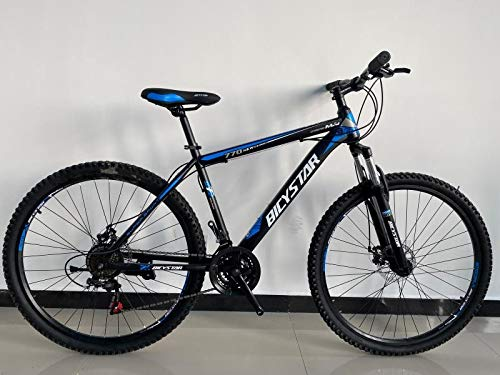 Bicystar 26' Wheel Unisex Mountain Bike for Adults, Steel Frame, 21 Speed, Front and Rear Disc Brakes (Blue)