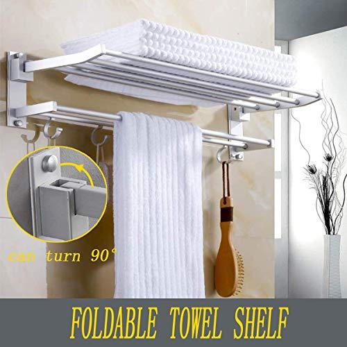 QNN Towel Rack,Bathroom Towel Shelf with Foldable Towel Bar Holder and Towel Hooks Wall Mounted Multifunctional Double Towel Bars