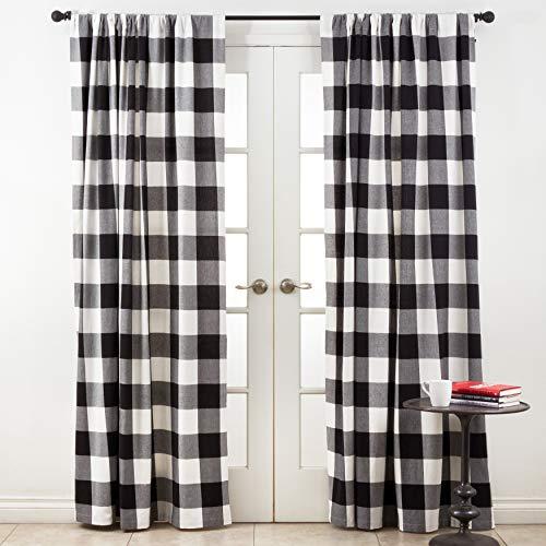 "SARO LIFESTYLE Birmingham Collection Buffalo Plaid Cotton Curtain Panel, 54"" x 96"", Black"