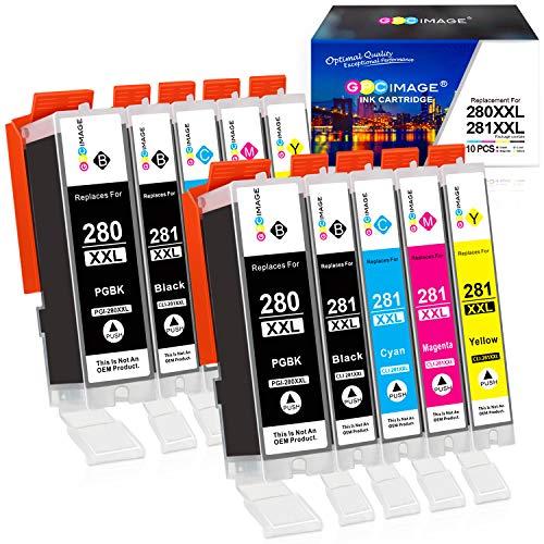 GPC Image Compatible Ink Cartridge Replacement for Canon PGI-280XXL CLI-281XXL PGI 280 XXL CLI 281 XXL fit for PIXMA TS6120 TS6220 TR7520 TR8520 TS8120 TS8220 TS9120 TS9520 TS9521C Printer (10 Pack)