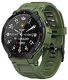 Smartwatch EIGIIS, Orologi Sportivi Tattici Militari Impermeabili Tracker di Attività All'aperto con Chiamata Bluetooth, Contapassi e GPS Fitness Tracker Watch per Musica (Army Green)