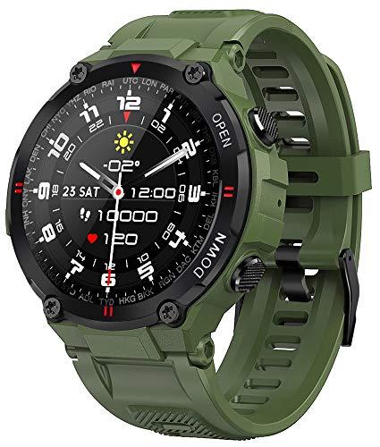 EIGIIS Smart Watch, Reloj Deportivo Digital Impermeable Militar táctico Alarma/Cronómetro Pulsera Actividad Inteligente con Pulsómetro, Monitoreo del Sueño, Rastreador de Fitness (Ejercito Verde)