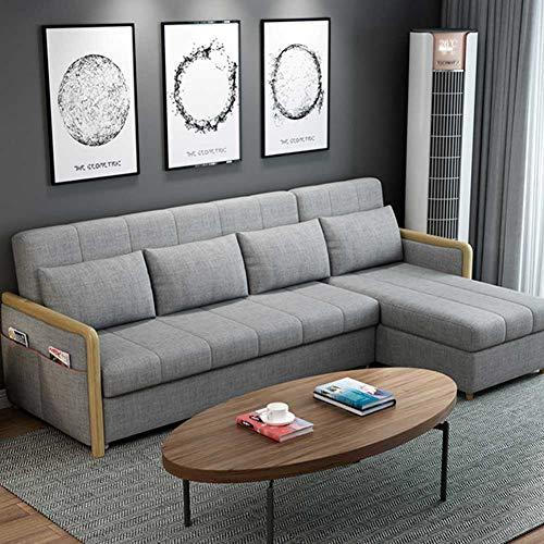 RSTJ-Sjcw Luxus zeitgenössische Konvertierende Sektionsofa Couch für Wohnzimmer, Moderne Leinenstoff-L-förmige Couch mit Ausziehbett, Cabrio-Folding-Futon-Schlafsofa,Grau