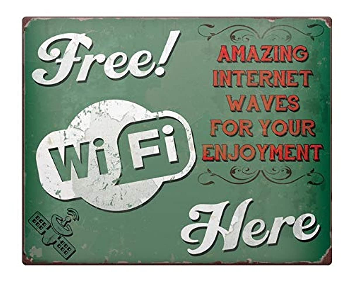 Novelty Funny Sign Free WiFi Vintage Metal Tin Sign Wall Sign Plaque Poster for Home Bathroom and Cafe Bar Pub, Wall Decor Car Vehicle License Plate Souvenir 11-21-2 sg71826908324