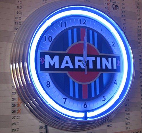 Martini Neon Horloge Racing Sign-wallclock Bleu néon Bord.
