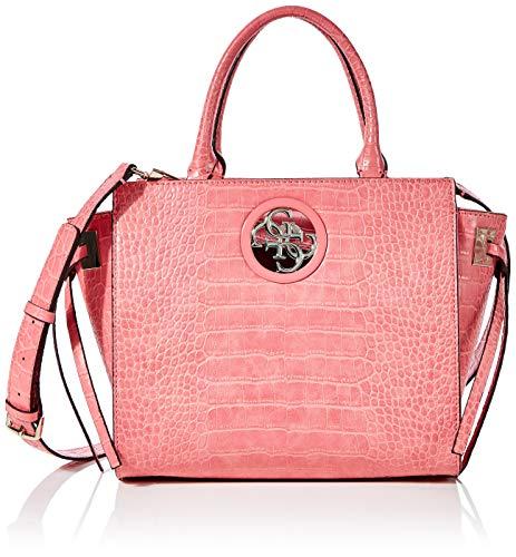 Guess Damen Open Road Society Satchel Umhängetasche, Pink (Rose), 15.5x23.5x36 centimeters